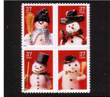 view larger image for  : SG Number 4245-4248 / Scott Number 3679a (2002) - Christmas Snowmen<br/>
