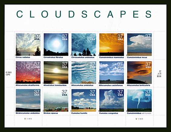 view larger image for  : SG Number 4381a / Scott Number 3878 (2004) - Cloudscapes sheetlet of fifteen