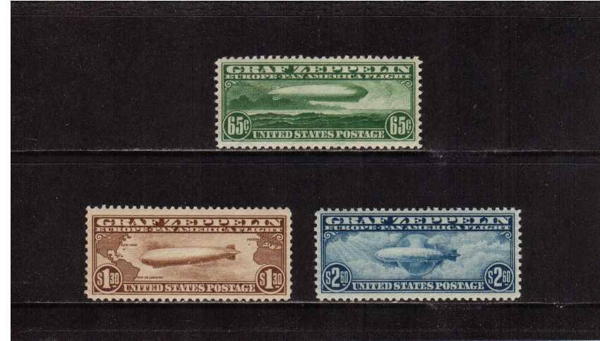 view larger image for  : SG Number A687- A689 / Scott Number C13-C15 (1930) - The Graf Zeppelin Issue<br/>Set of three