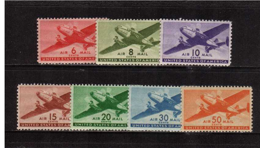 view larger image for  : SG Number A901-A907 / Scott Number C25-31 (1941) - Mail Plane<br/>Set of seven
