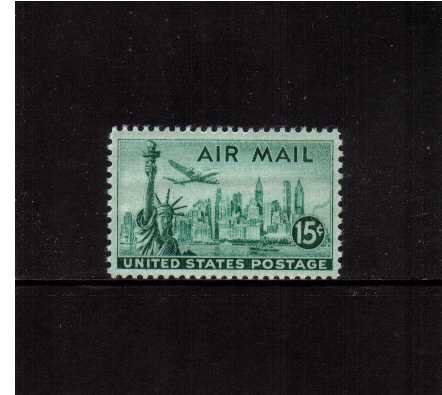 view larger image for Airmails Airmails: SG Number A949 / Scott Number 15c (1947) - New York Skyline   - Bright Blue Green