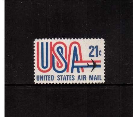 view larger image for Airmails Airmails: SG Number A1351 / Scott Number 21c (1971) - 'USA' and Jet
