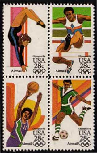 view larger image for Airmails Airmails: SG Number A2037a / Scott Number 28c x4 (1983) - Olympics<br/>