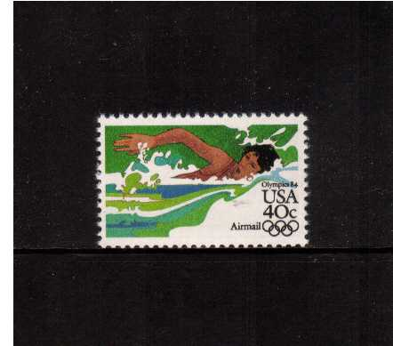 view larger image for Airmails Airmails: SG Number A2024 / Scott Number 40c (1983) - Olympics - Swimming