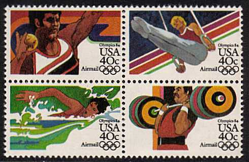 view larger image for Airmails Airmails: SG Number A2025a / Scott Number 40c x4 (1983) - Olympics<br/>