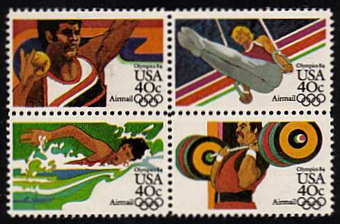 view larger image for Airmails Airmails: SG Number A2025ba / Scott Number 40c x4 (1983) - Olympics<br/>