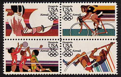 view larger image for Airmails Airmails: SG Number A2061a / Scott Number 35c x4 (1983) - Olympics<br/>