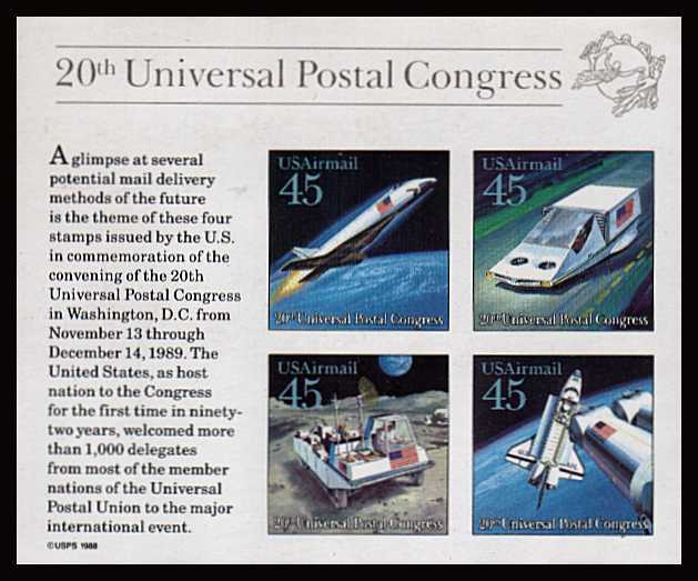 view larger image for Airmails Airmails: SG Number MSA2427 / Scott Number 45c x4 (1989) - Futuristic Space<br/>