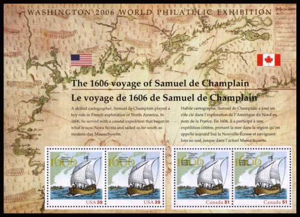 view larger image for Commemoratives 2006 - 2007 - Later Period Commemoratives: SG Number MS4616 / Scott Number 39c x2 + Canada 51c x2 - 28 May 2006 (2006) - Voyage of Samuel de Champlain minisheet.