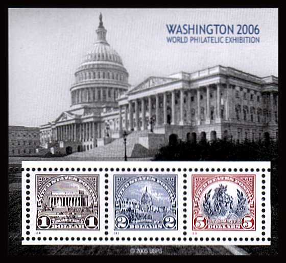 view larger image for Commemoratives 2006 - 2007 - Later Period Commemoratives: SG Number MS4618 / Scott Number $1 $2 $5 - 29 May 2006 (2006) - Washington 2006 World Philatelic Exhibition minisheet