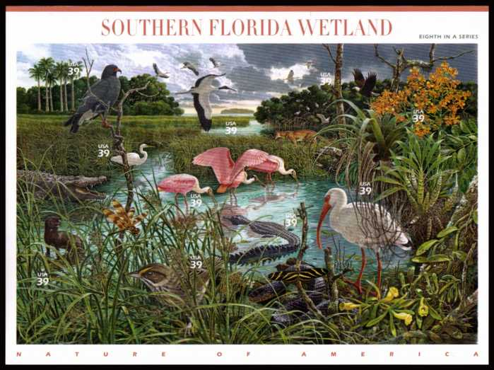 view larger image for Commemoratives 2006 - 2007 - Later Period Commemoratives: SG Number MS4661 / Scott Number 39c x10 - 4 October 2006 (2006) - Nature of America - Southern Florida Wetland<br/>