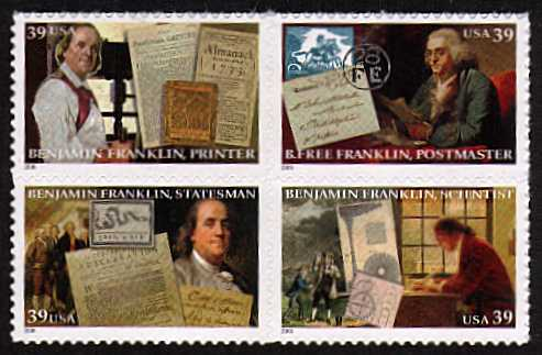 view larger image for Commemoratives 2006 - 2007 - Later Period Commemoratives: SG Number 4563a / Scott Number 39c x4 - 7 April 2006 (2006) - Benjamin Franklin block of four