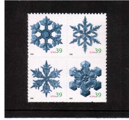 view larger image for Commemoratives 2006 - 2007 - Later Period Commemoratives: SG Number 4662a / Scott Number 39c x4 - 5 October 2006 (2006) - Christmas - Snowflakes block of four<br/>