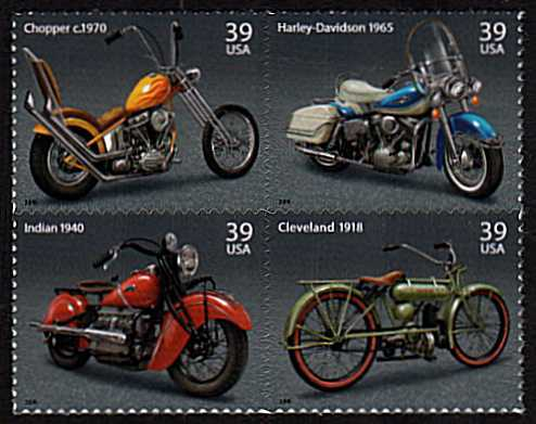 view larger image for Commemoratives 2006 - 2007 - Later Period Commemoratives: SG Number 4646a / Scott Number 39c x4 - 7 August 2006 (2006) - American Motorcycles
