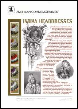 view larger image for  : SG Number 2535-2539 / Scott Number 2501-2505 (1990) - Indian Headresses<br/><br/>