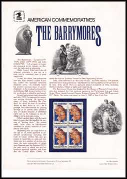 view larger image for  : SG Number 1989 / Scott Number 2012 (1982) - The Barrymores<br/><br/>