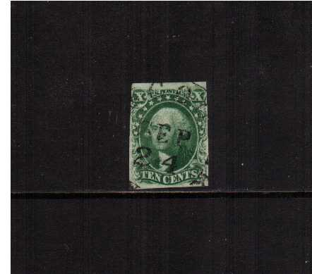 view larger image for The Imperforate Issues The Imperforate Issues: SG Number  / Scott Number 10c Green - Type III (1855) - A fine four margined stamp cancelled with a dated circular date stamp reading SEPtember 24.