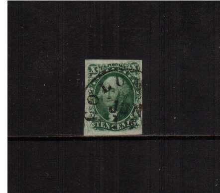view larger image for The Imperforate Issues The Imperforate Issues: SG Number  / Scott Number 10c Green - Type III (1855) - A superb four larged margined stamp cancelled with a lage circular date stamp reading COLUM (possible for COLUMBUS - OHIO) dated JUN 19. A very pretty example.
