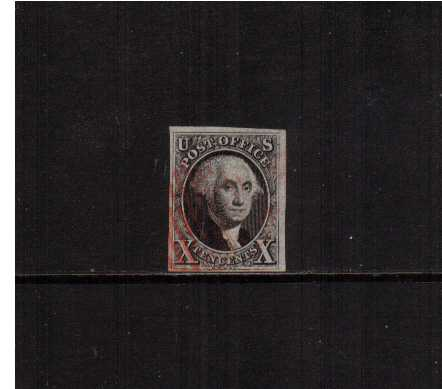 view larger image for The Imperforate Issues The Imperforate Issues: SG Number  / Scott Number 10c Black (1847) - A stunning fine used four margined stamp very lightly cancelled in Red clear of profile and showing a vertical extended frame line in NE corner. A gem!