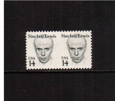 view larger image for  : SG Number  / Scott Number 1856c (1985) - Sinclair Lewis superb unmounted mint horizontal pair<br/>IMPERFORATE BETWEEN