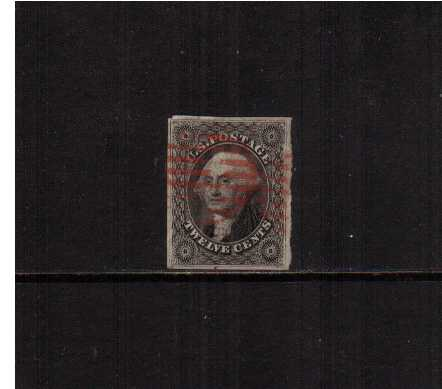 view larger image for The Imperforate Issues The Imperforate Issues: SG Number  / Scott Number 12c Black (1851) - A fine stamp with four clear margins cancelled with a light Red bars cancel.