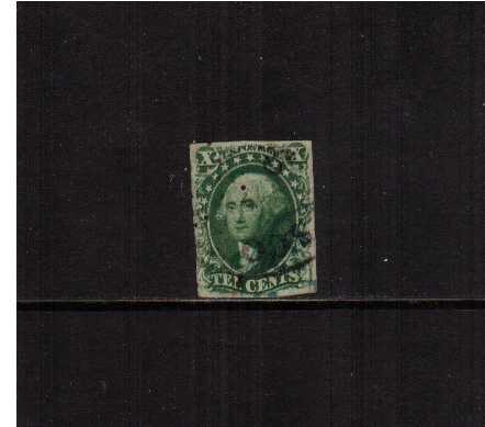 view larger image for The Imperforate Issues The Imperforate Issues: SG Number  / Scott Number 10c Green - Type III (1855) - A fine used stamp with four close margins