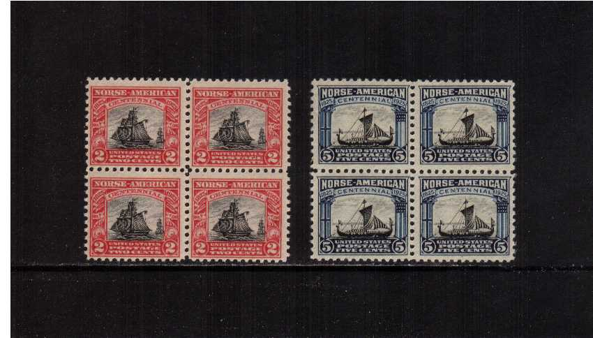 view larger image for  : SG Number 624-625 / Scott Number 620-621 (1925) - Set of two in superb unmounted mint blocks of four