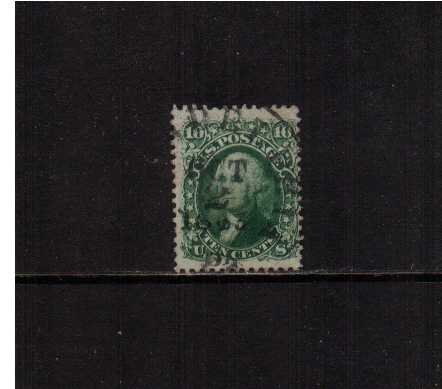 view larger image for Early Issues To 1906 Early Issues To 1906: SG Number  / Scott Number 10c Washington - Dark Green (1861) - Superb fine used single bright and fresh with full perforations cancelled with an upright circular date stamp cancelled OCT 2 1863. Pretty