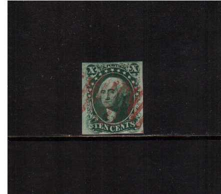 view larger image for The Imperforate Issues The Imperforate Issues: SG Number  / Scott Number 10c Green - Type I (1855) - A superb four margined stamp, cut square very lightly cancelled with a Red Bar cancel. Very pretty!