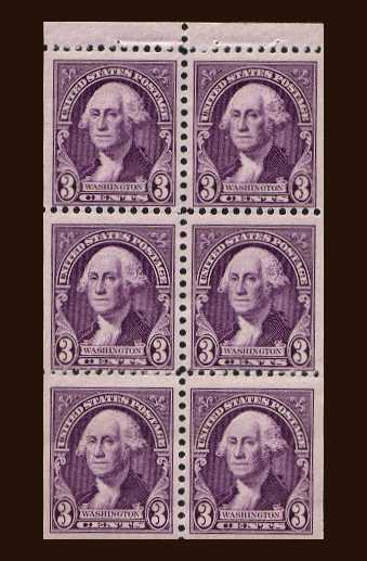 view larger image for  : SG Number 720c / Scott Number 720b (1932) - Washington booklet pane of six
