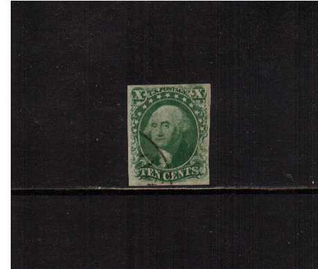 view larger image for The Imperforate Issues The Imperforate Issues: SG Number  / Scott Number 10c - Type III (1855) - A superb fine used single with four clear margins cancelled just clear of profile across SW corner with part of a circular date stamp. A gem!