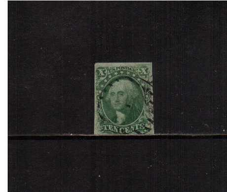 view larger image for The Imperforate Issues The Imperforate Issues: SG Number  / Scott Number 10c - Type III (1855) - A good fine used stamp with three clear large margins design touched at foot