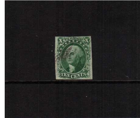 view larger image for The Imperforate Issues The Imperforate Issues: SG Number  / Scott Number 10c - Type III (1855) - A fine used stamp with four margins very lightly cancelled.