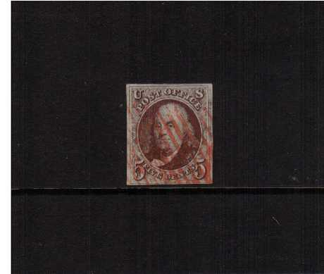 view larger image for The Imperforate Issues The Imperforate Issues: SG Number 1 / Scott Number 5c Red Brown (1847) - A superb fine used stamp cancelled with a RED bar cancel with four clear margins. Pretty!
