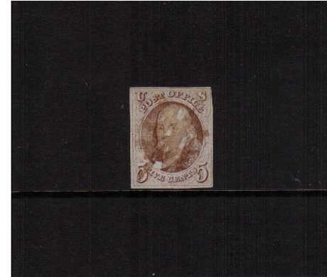 view larger image for The Imperforate Issues The Imperforate Issues: SG Number 1 / Scott Number 5c Pale Red Brown (1847) - A good four margined stamp with a light pen cancel