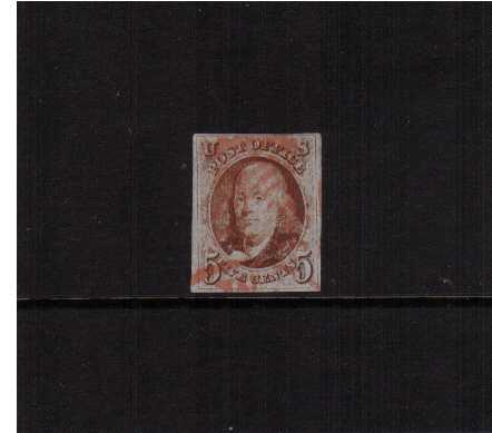 view larger image for The Imperforate Issues The Imperforate Issues: SG Number 1 / Scott Number 5c Red Brown (1847) - A large four margined stamp lightly cancelled in Red