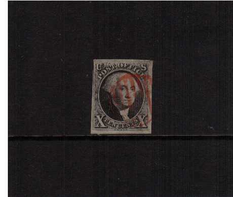 view larger image for The Imperforate Issues The Imperforate Issues: SG Number 2 / Scott Number 10c Black (1847) - A very attractive stamp with four good to lage margins lightly cancelled in Red. A gem!