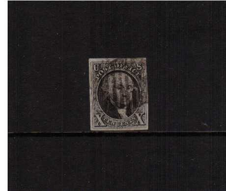view larger image for The Imperforate Issues The Imperforate Issues: SG Number 2 / Scott Number 10c Black (1847) - A fine four margined stamp lightly cancelled in Black