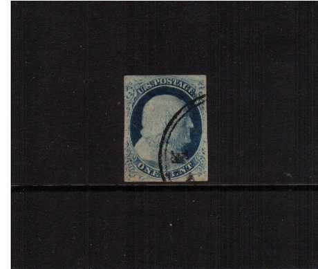 view larger image for The Imperforate Issues The Imperforate Issues: SG Number  / Scott Number 1c - Type IV (1852) - A superb four margined stamp cancelled with a double ring circular date stamp