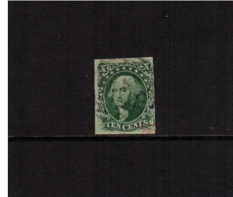 view larger image for The Imperforate Issues The Imperforate Issues: SG Number  / Scott Number 10c - Type III (1855) - A very lightly used stamp with four margins