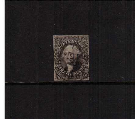 view larger image for The Imperforate Issues The Imperforate Issues: SG Number  / Scott Number 12c Black (1851) - A four very close marginged stamp cancelled with a light circular date stamp 'Socked-on-the-nose' Rare to find.