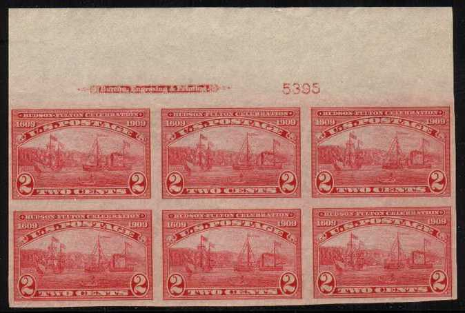 view larger image for Plate Number Blocks Plate Number Blocks: SG Number 380 / Scott Number 2c Hudson-Fulton - Imperforate (1909) - A superb top marginal plate and imprint block of six unmounted mint of five stamps, mounted mint on one.