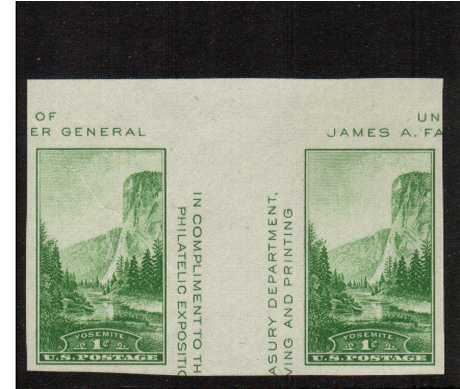 view larger image for Commemoratives 1934-35 National Parks - Early Period Commemoratives: SG Number - / Scott Number 1c Green (1935) - A superb unmounted mint gutter pair<br/>Imperforate