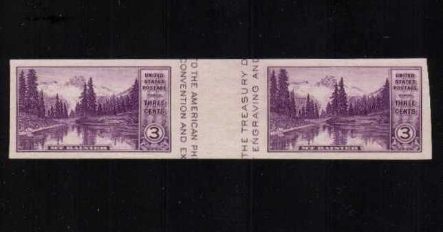 view larger image for Commemoratives 1934-35 National Parks - Early Period Commemoratives: SG Number - / Scott Number 3c (1935) - A superb unmuonted mint gutter pair<br/>Imperforate