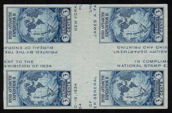 view larger image for Commemoratives 1934-35 National Parks - Early Period Commemoratives: SG Number - / Scott Number 3c Byrd (1935) - A superb unmounted mint 'cross gutter' block of four<br/>Imperforate