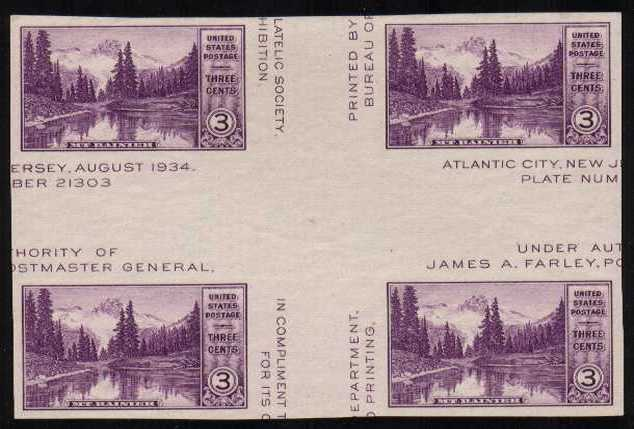 view larger image for Commemoratives 1934-35 National Parks - Early Period Commemoratives: SG Number - / Scott Number 3c (1935) - A superb unmounted mint 'cross gutter' block of four<br/>Imperforate