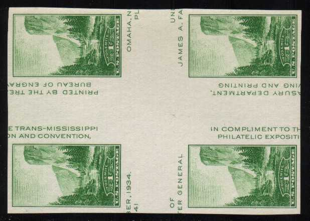view larger image for Commemoratives 1934-35 National Parks - Early Period Commemoratives: SG Number - / Scott Number 1c (1935) - A superb unmounted mint 'cross gutter' block of four<br/>Imperforate