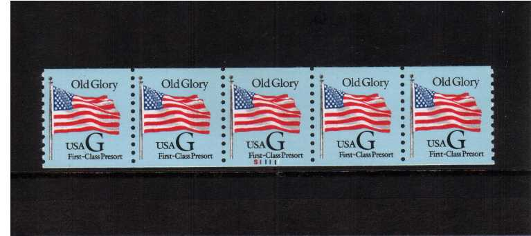 view larger image for Plate Number Coils Plate Number Coils: SG Number 2981 / Scott Number Black 'G' Flag on Blue paper (1994) - A superb unmounted mint strip of five showing plate number S11111