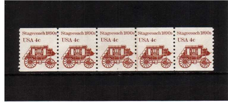 view larger image for Plate Number Coils Plate Number Coils: SG Number 1869 / Scott Number 4c Stagecoach (1982) - A superb unmounted mint strip of five showing plate number 3