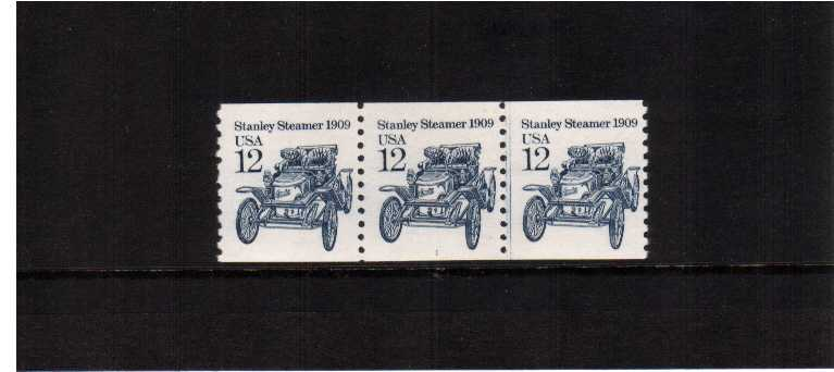 view larger image for Plate Number Coils Plate Number Coils: SG Number  / Scott Number 12c Stanley Steamer Car (1985) - A superb unmounted mint strip of three showing plate number 1
